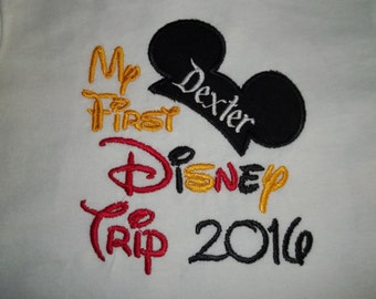 Mickey Ears My First Disney Trip Short Sleeve Appliqued Tshirt - Infant and Toddler Size Tshirt - 6 months to 5/6