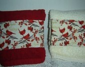 "Holiday red or vanilla hand/dish towel, Cardinals, branches w/red leaves berries, ""Joyous Holidays"", 100% cotton terry, hostess teacher gift"