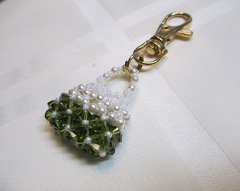 Crystal Purse Charm or Zipper Pull in Olive Green