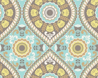 Joyful Garden - Medallion Aqua Yellow from David Textiles