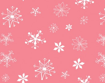 Winter Wonderland - Snowflakes Dark Pink by Heather Rosas from Camelot Cottons