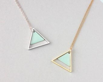 Large Geometric Two Triangle Necklace (Mint) - Modern Handmade Jewellery