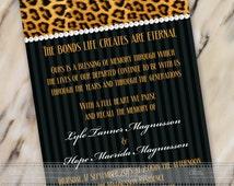 celebration of life invitations, cheetah wedding invitations, wedding invitations, zoo fundraiser, cheetah retirement invitations, IN445