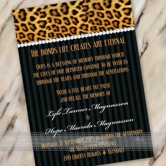celebration of life invitations, cheetah wedding invitations, wedding invitations, zoo fundraiser, cheetah retirement invitations, IN445