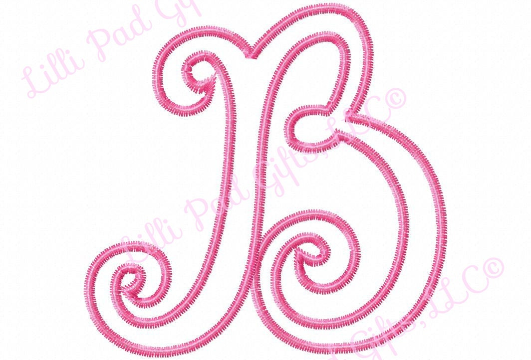 Bailey applique font set zig zag outline upper by