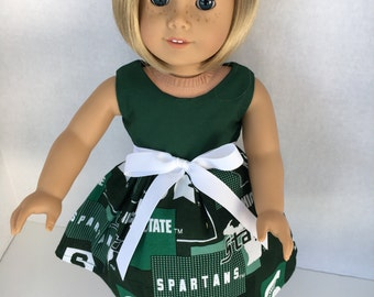 18 inch doll dress made from Michigan New Speratic Fabric, made to fit 18 inch dolls such as American Girl and similar 18 inch dolls