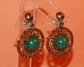 40s Mexico Copper Earrings Vintage Beauties Green Stone