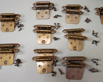 Cabinet - Furniture Hinges with Screws, Cabinet Hardware, Furniture Hardware, New Old Stock, Bronze Hinges, DIY Projects, Self Closing Hinge