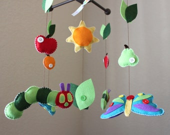 Baby Mobile, Baby Crib Mobile, Caterpillar, Butterfly, Fruits, Nursery Decor, Bedtime Stories, Story Book, Handmade Felt Mobile