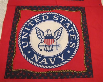 U S Navy pillow panel - design on both sides - ready for you to finish it into a pillow