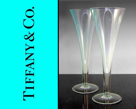 Tiffany co two fluted champagne hollow stem glasses - Hollow stem champagne glasses ...