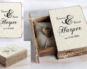 Rustic ring bearer box, Wedding ring box, Personalized wedding box, Engagement box, Pillow alternative, Wedding ring holder, Custom ring box
