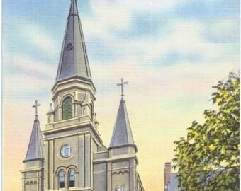Plymouth, Pennsylvania, Church of the Nativity of the B.V.M. - Linen Postcard - Unused (DD)