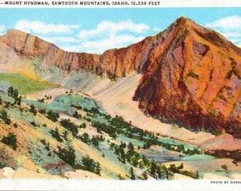 Mount Hyndman, Sawtooth Mountains, Idaho - Linen Postcard - Unused (C1)