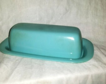 Beautiful Turquoise Mid Century Modern Melmac Butter Dish Cover