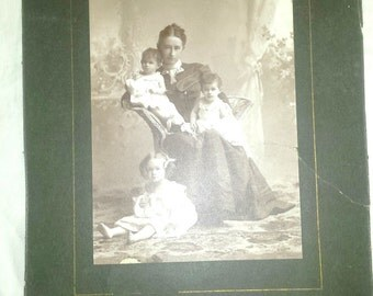 Antique Photo English Rose Mother with children 1890's