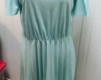 Vintage 1970s Light Blue/Green Day Dress - M