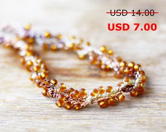 SALE Twist beaded necklace Crochet jewelry Boho chic Gift for her Brown topaz color