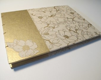 Romantic Magnolia Gold and Cream Guest Book: Ivory and Metallic Gold Wedding Guestbook