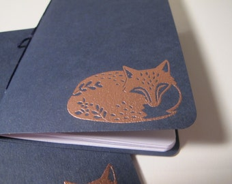 Fox Pocket Notebooks: Set of Two Navy and Copper Embossed Small Journals Cahier