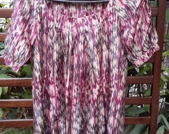 Printed Silk blouse, women's silk blouse, plus size silk top, printed ikat silk top, casual silk blouse, womens tunic top, ikat print top