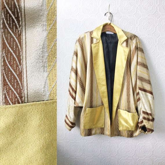 Silk Jacket, Gold Blazer, Gold Cocoon Sleeves, by Maribou of London, Free Size, Vintage 1980's