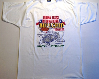 Funny late 80's, early 90's Bullchip Throwers t-shirt, fits like a large