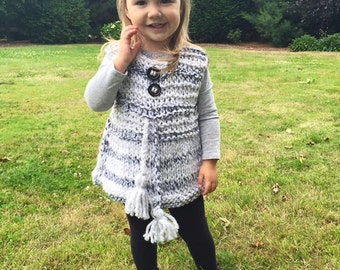 18-24m Thick Knitted Jumper, Little Girl Gift, Knitted West, Knitted Jumper
