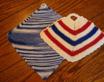 Pot Holders Pair of Hand Knit Red White and Blue Set of Two Potholders Vintage