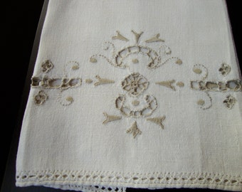 Madeira Tea Towel Antique Linen Guest Towel Show Towels