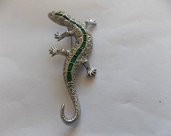 Vintage Rhinestone Green Glass Lizard Brooch Pin -BIG