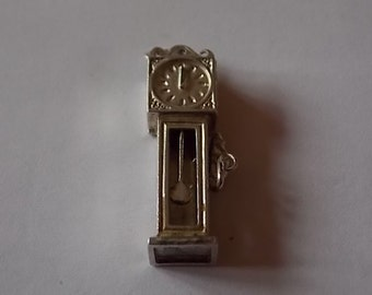 Vintage Silver Grandfather Clock Moving Mouse Charm LOVELY