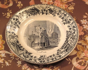 Antique French Creil Et Montereau Plate Circa 1850's