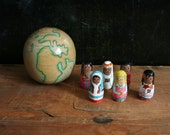 Wooden Globe with Nesting Dolls