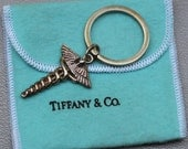 Vintage Authentic Tiffany Caduceus Medical Doctor Sterling Silver Key Ring Chain