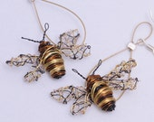Bee earrings Bee jewelry Wire bee tiny sculpture Bee art jewelry Long earrings Wire Insect Unique earrings Delicate earrings Art earrings