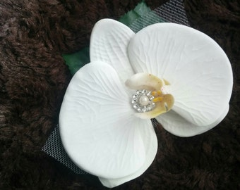 Wedding Natural Touch White Orchid Flower Hair Clip Fascinator Bridal Hair Flower Clip