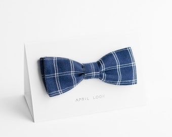 Blue men's bow tie - double sided