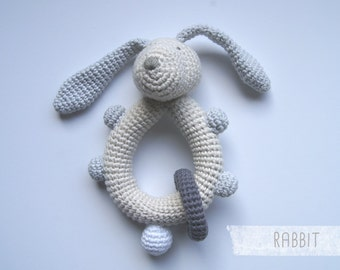 Rattle baby crochet. Baby toy. Baby Shower gift. Baby Teething toy. Crochet rattle. Crochet toy. Newborn gift. Rassel Häkeln. Sonaglio.