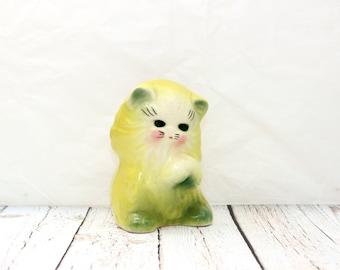 Chartreuse Kitten Planter, Cat Planter, Succulent Planter, Kitschy Planter, Vintage Succulent Planter, Chartreuse Planter, Cute Kitten Pot