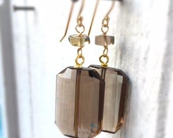 Brown Earrings - Smoky Quartz Jewelry - Gold Jewellery - Beaded - Fashion - Chic - Gemstone