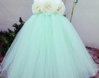 Flower girl dress. Ivory Vintage with Mint TuTu Dress, baby tutu dress, toddler tutu dress, wedding, birthday, Newborn, 2t,3t,4t,5t