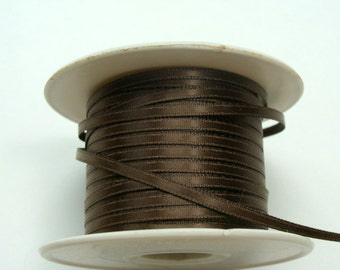 "1/8"" Double-Faced Satin Ribbon - Brown 10 yards"