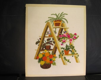 Vintage 70's Crewel Embroidery Needlework Sunset Designs Plant Ladder Wall Hanging