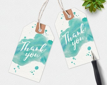 Thank you printable tags, handwritten tags, watercolor thank you tag, favour tags, printable gift tags, thankyou tags, aqua gift tags
