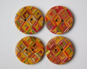 """3/4"""" (19 mm) polymer clay buttons, Fall inspired decorative sewing buttons, set of 4"""
