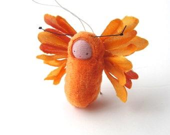 Orange flower fairy  ornament party favor fairie doll waldorf decor