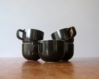 Five Vintage Vignelli Sasaki Colorstone Cups in Black