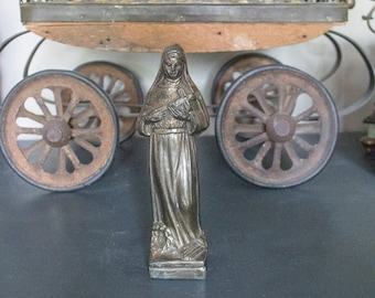 Antique FRENCH Saint Rita Statue, Spelter, From France