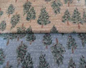 2 colors Snowy evergreen trees Cheri Blum for Henry Glass